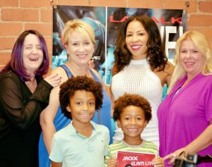 4 adults and two child actors at Jackie Elam radio studio