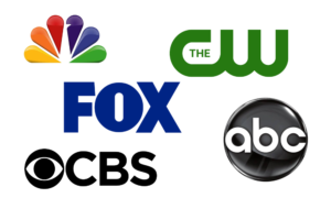 Logos of television networks CBS NBC Fox CW ABC