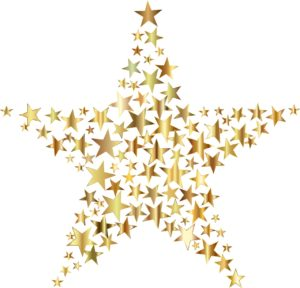 Small stars within a large gold star