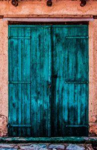 Teal colored door