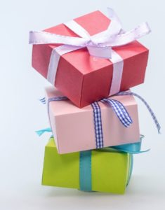 three gifts stacked on each other