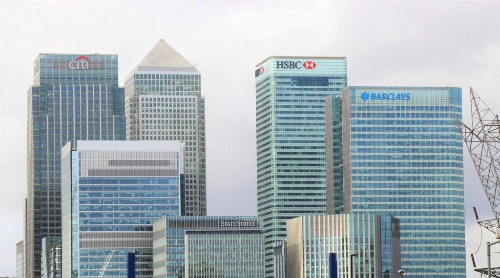 Bank buildings in a city HSBC Citi Barclays