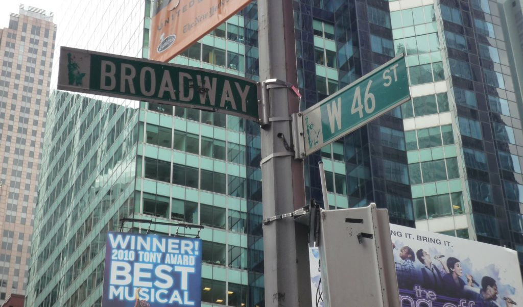 street sign of Broadway and 46th in NYC