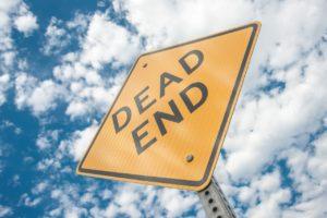 Dead End caution sign