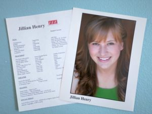 Photo of an actress and her resume