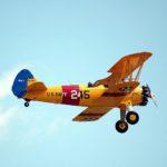 Airplane flying through sky