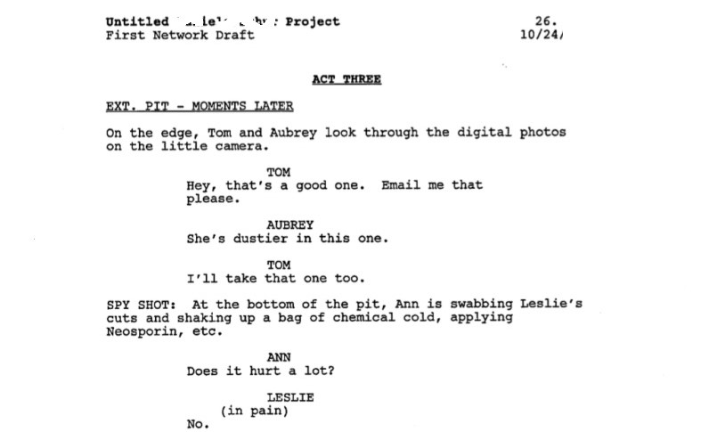 Sample of the top page of a script