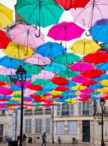 photos of hanging umbrellas