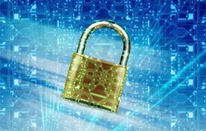 gold padlock on graphic computer data