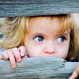 Girl peeking through wood boards