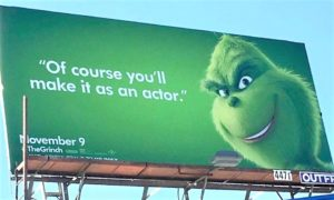 Billboard with the Grinch on itc