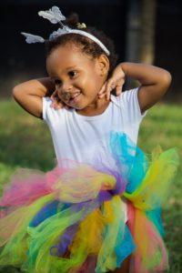African American toddler in a tutu