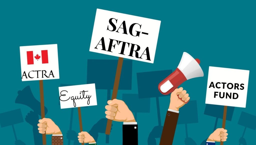 Graphic of protester signs saying ACTRA Equity SAGAFTRA and Actors Fund