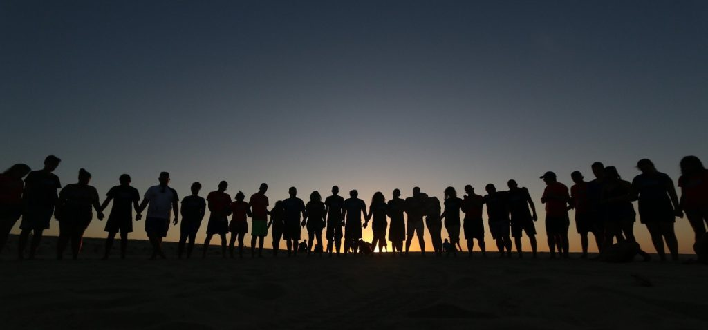 Row of people in silouette