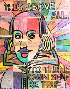 Art with Shakespeare face and text To Thine Own Self Be True