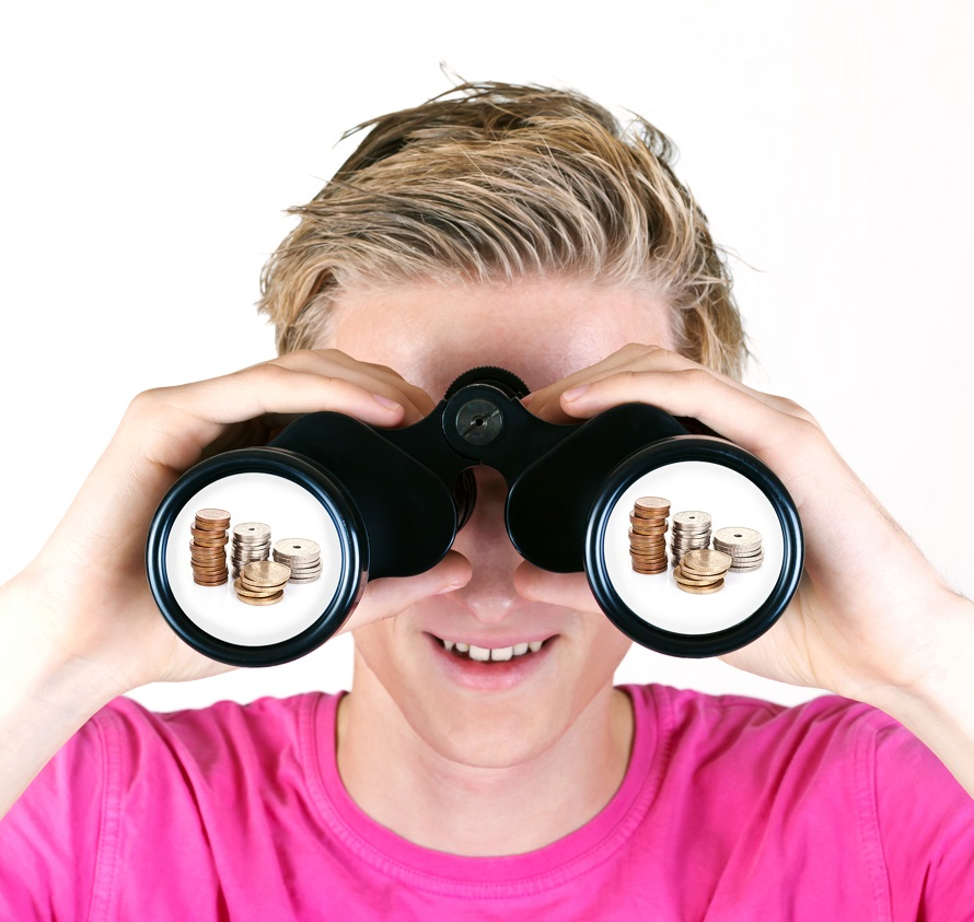 Boy with binoculars showing coins in the lenses