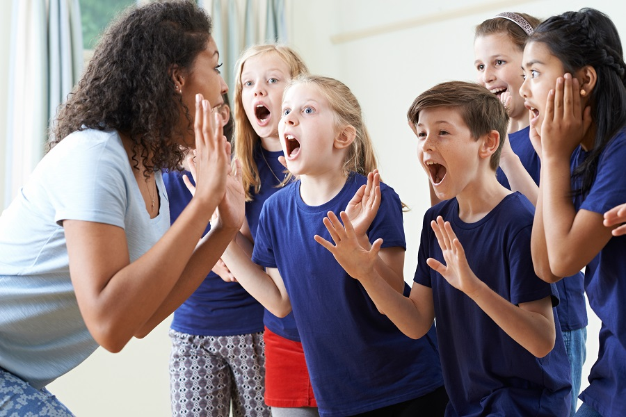 children in an acting class