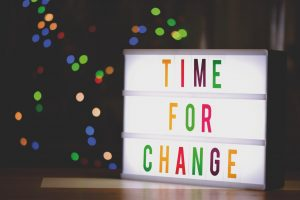 Light box saying Time For Change