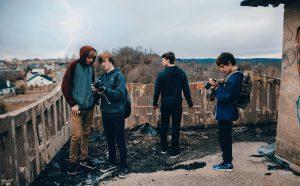 4 teens creating a film